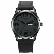 CHRONOS Men's Watches Black Leather Quartz Waterproof Analog Day Date Large Numb
