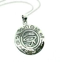"Sterling Silver Eye of Horus Ra Wadet Udjat Pendant 18"" Chain Necklace Jewelry"