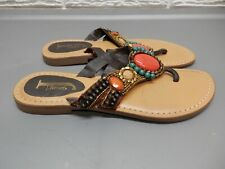 J. Renee Brown Leather Embroidered & Beaded Flip Flops Size 8.5