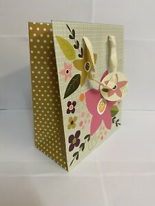72 GIFT BAGS PINK GREY FLORAL FLOWER MEDIUM SHOP STALL BOUTIQUE 24 x 20 x 10cm