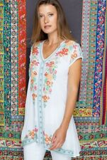 Johnny Was Heidi Size L Tunic Blouse Embroidered Long Top White Large