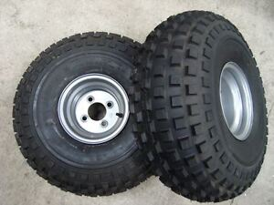 Pair Of Quad Trailer Wheels & Tyres 22x11x8 4 inch PCD