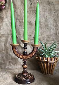 Vintage Wooden Carved Etched Candelabra 3 Candle Holder Folk Art Scandi
