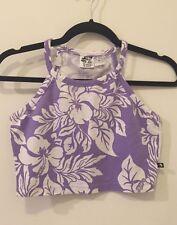 Vintage T&C Surf Design Crop Top S Aloha Floral Hawaiian Y2k 90s Swim Shirt