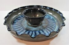 Vintage Ceramic CLAY ART Condiment Relish Dip Chip Vegetable Tray Dish Platter