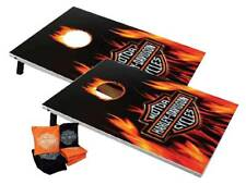 Harley-Davidson Flaming Bar & Shield Cornhole Bean Bag Toss Game 66279