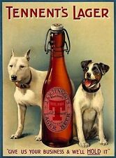 Tennent's Lager Beer, Dogs, Vintage Pub, Bar, Hotel, Beer, Medium Metal Tin Sign