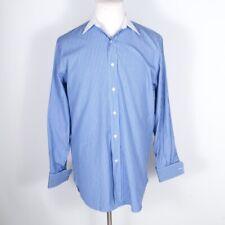 Bergdorf Goodman Tailor Fit Stripe Blue 100% Cotton Contrast Collar FR Cuff 16