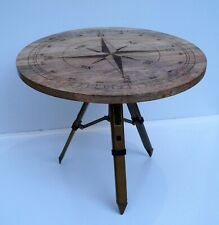 Wooden coffee table round compass look industrial rustic adjustable tripod stand