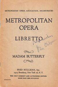 VAN CLIBURN. Pianist. Signed 40pp Metropolitan Opera MADAME BUTTERFLY libretto