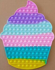 Jumbo Cupcake Push it Bubble Pop Fidget Sensory Toy ADHD Stress Reliever Toys