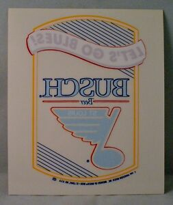 Vintage 1991 NEW St. Louis Blues Busch Beer Decal Sticker - Let's Go Blues!