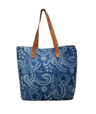 Paisley Hand Block Print Cotton Bag With Real Leather Handel Tote Shopping Bag