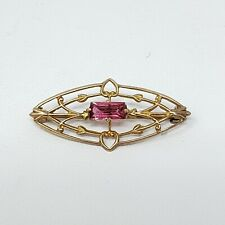 10k Yellow Gold Filigree Brooch Pin Pink Glass Stone Unique Hearts Valentines