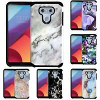 For LG G6 Marble Design Hybrid Armor Case Dual Layer Protective Phone Cover