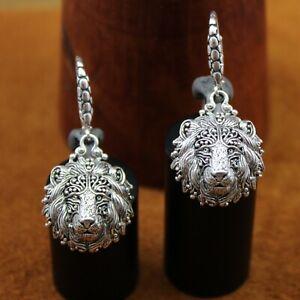 "SARDA Bali Filigree ""Be Courageous"" Lion Head Dangle Earrings Sterling Silver"