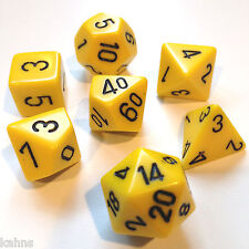 Chessex Dice Poly - Opaque Yellow with Black -Set Of 7- 25402 - Free Bag!  DnD