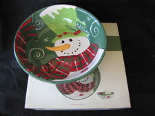 FITZ AND FLOYD HOLLY HAT SNOWMAN Large Serving Bowl Ret $50 NIB