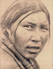 1900/72 Vintage EDWARD CURTIS Native American INDIAN Cree Woman Photo Engraving