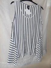 Yong Kim Sleeveless Tunic White/Black Stripes Sharkbite Hem Modal & Elastane 10