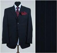 UK 40 Short Mens Striped Sports Jacket NEXT Navy Blue Wool Blazer SIZE L Large