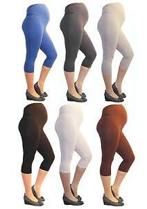 Maternity Trousers Capri 3/4 Leggings Maternity Leggings Opaque Cotton -