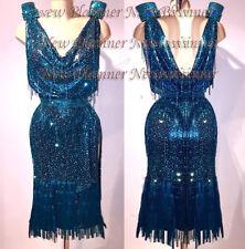 L3957Cocktail  women cha cha Latin samba salsa swing dance dress US 8 dark green