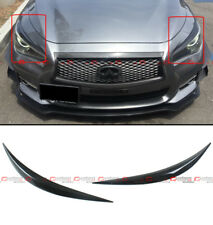 FOR 2014-19 INFINITI Q50 GLOSSY BLACK ABS HEADLIGHT EYE LID COVER PAIR EYEBROWS