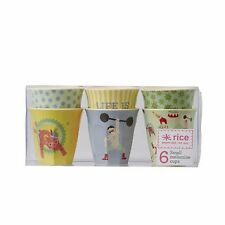 SALE! RICE Melamine - Set of 6 Small Cups - Boys Circus Print
