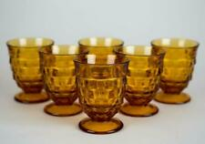 Colony Whitehall Gold Amber Footed Glasses, Set of 6, Vintage Pressed