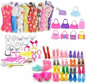 70Pcs Barbie Doll Dresses Shoes Set jewellery Clothes Accessories Girl Toys Gift