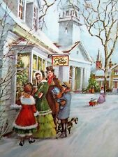 Vintage Christmas Card UNUSED Family Shopping Pretty Girl In Dress Young Man
