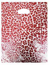 100 Plastiktüten Einkaufstüten Tragetaschen im Leopard Look Rot 25x33cm TOP