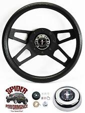"""1965-1969 Mustang steering wheel PONY 13 1/2"""" BLACK FOUR SPOKE steering wheel"""
