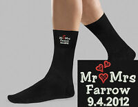 Socks Personalised Embroidered 2nd Wedding Anniversary Heart Design Mens Gift