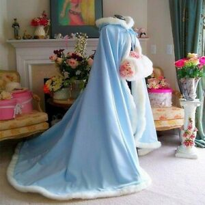 Medieval Wedding Bridal Cape Satin with Fur Trim Wedding Cloak Wraps Hood Cape