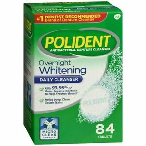 POLIDENT Overnight Whitening Tablets 84 Ct Denture Cleanser Antibacterial (RB)