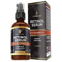 Retinol Serum For Face Anti Aging + Hyaluronic Acid Vitamin A E Aloe Vera