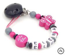 Schnullerkette mit Namen ★ Kleine Diva/Schmetterling in grau/pink/schwarz ♥ NEU