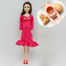 Brown Hair Real Pregnant Mom Doll Baby In Her Tummy Barbie Dolls Girls Toys Gift