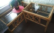 Vintage Tiki Palm Beach Bamboo Rattan Coffee and 2 Side Tables Furniture Group