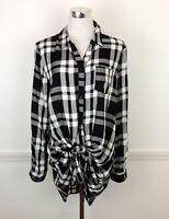COMO VINTAGE Womens L Buffalo Plaid Tunic Blouse Top Dress Black & White