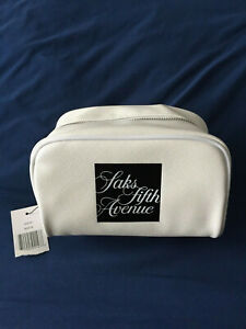 Saks Fifth Avenue Signature *BRAND NEW* Cosmetic Makeup Case / Bag White