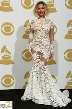 BEYONCE FLORAL FASHION DRESS GOWNS SEQUINS LACE FABRIC - White - BY THE YARD