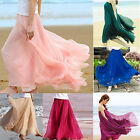 Women's Chiffon Pleated Maxi Full Long Dress Elastic Waist Maxi Skirt Big Hem