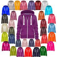 Sweatshirt Ladies Womens Plain Hoodie Hooded Jacket Zip Fleece Hoodys Coat 8-28