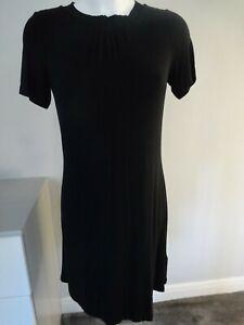 BNWT- M&S MARKS & SPENCER BLACK JERSEY DRESS UK SIZE 8 PETITE