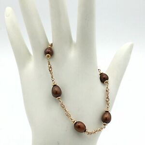 """HONORA copper cultured pearl station bracelet - rose gold over bronze Italy 7.5"""""""