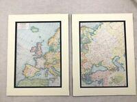 1920 Antico Impronte Mappa Di Europa Europeo Railways Routes Vintage Originale