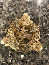 Brass sundial 3 3/4 inches vintage reproduction  Comes with Wood Case